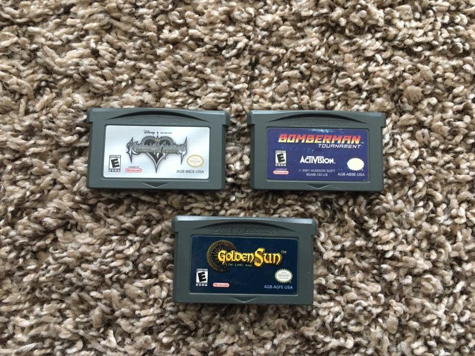 Gameboy Advance GBA Video Game Lot Of 3 Kingdom Hearts Bomberman Golden Sun