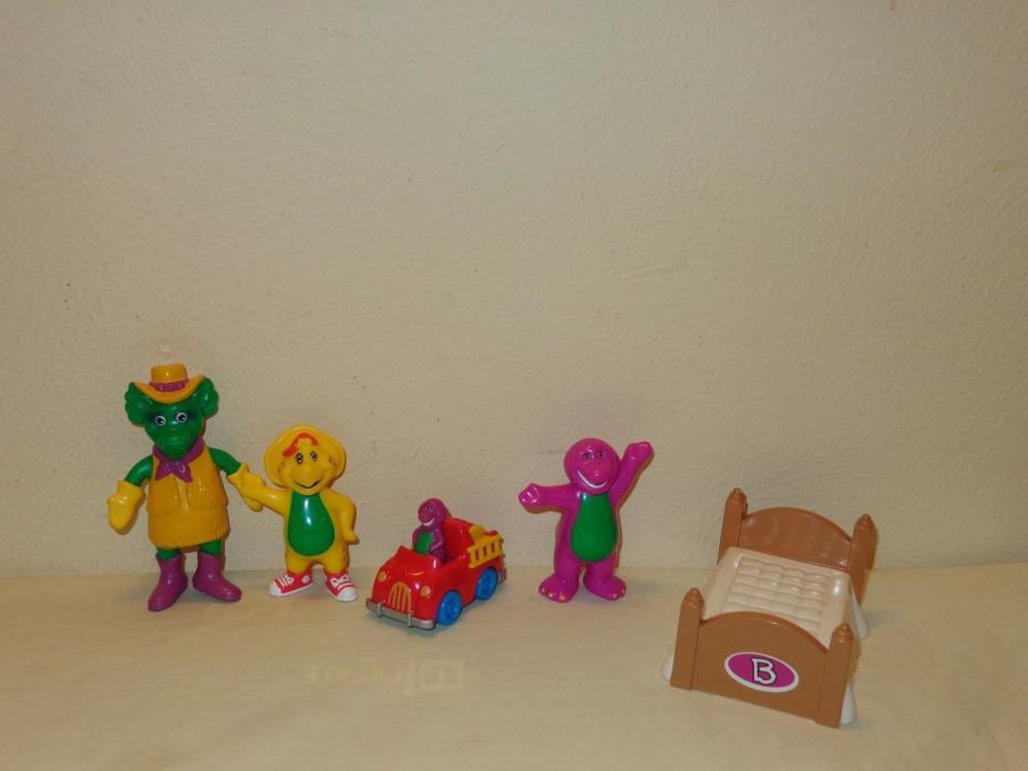 BARNEY Small Figures Lot - Barney, BJ, Baby Bop, Bed, Fire truck