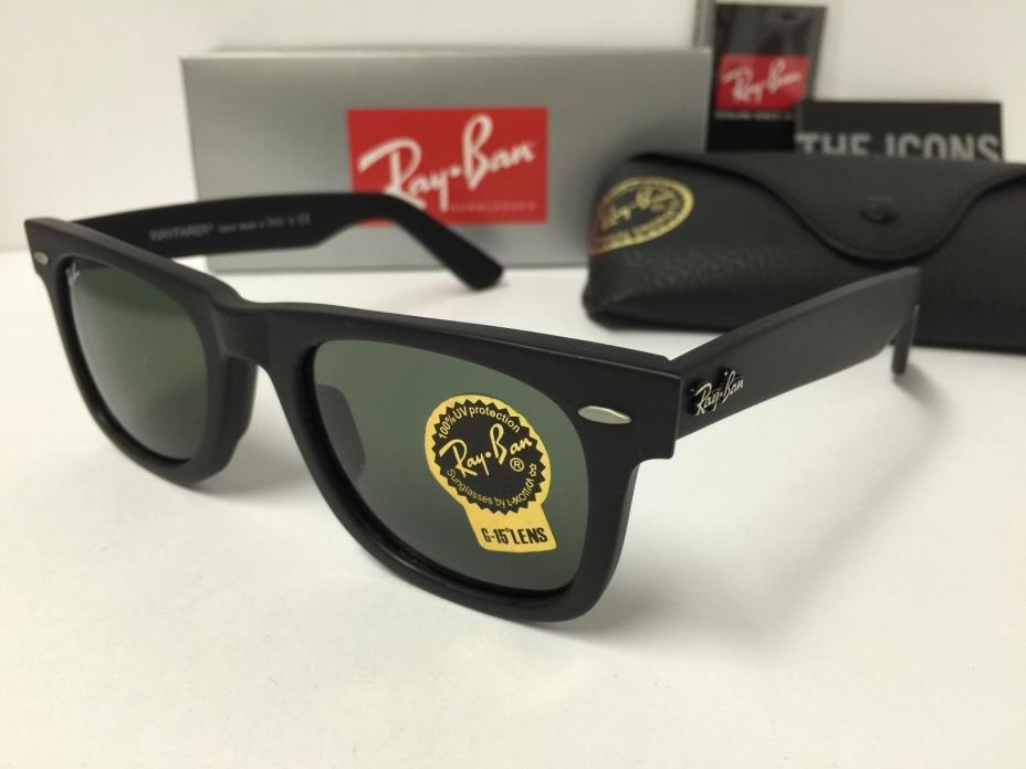 Ray-Ban Wayfarer Sunglasses RB2140 901S Matte Black Green G15 Lenses 50mm