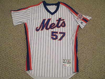 Kevin Long size 44 2016 New York Mets TBTC 1986 Mets game used jersey MLB holo
