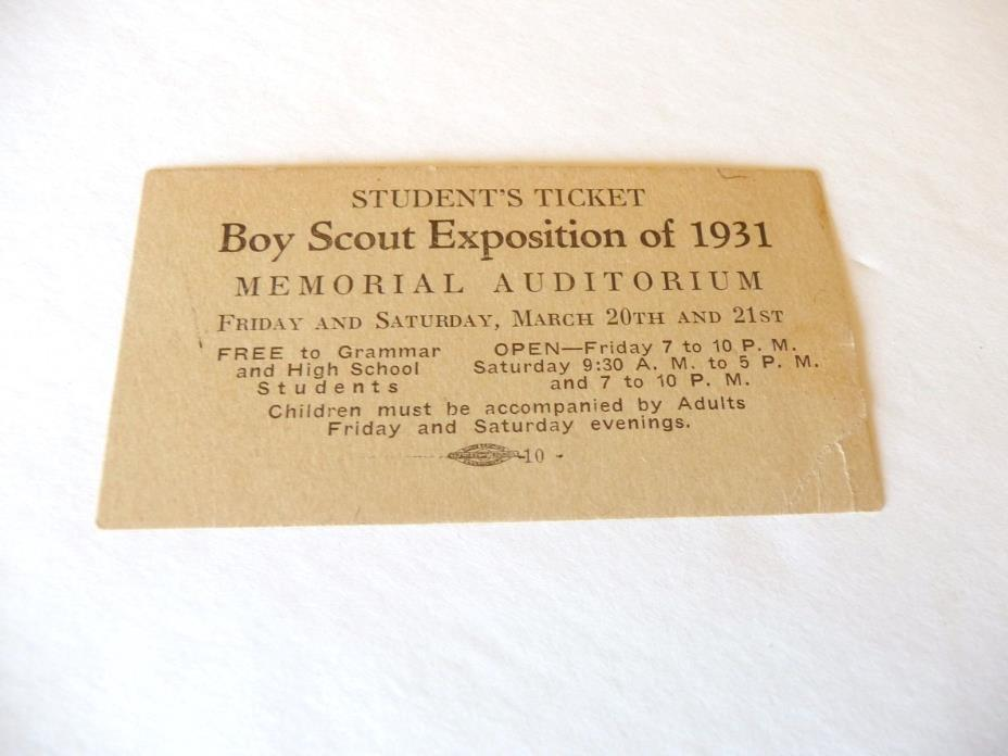 Boy Scout Exposition 1931 Student Ticket