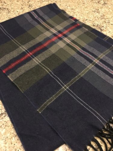 Modena Extra soft Mens Navy Plaid Scarf Bx49