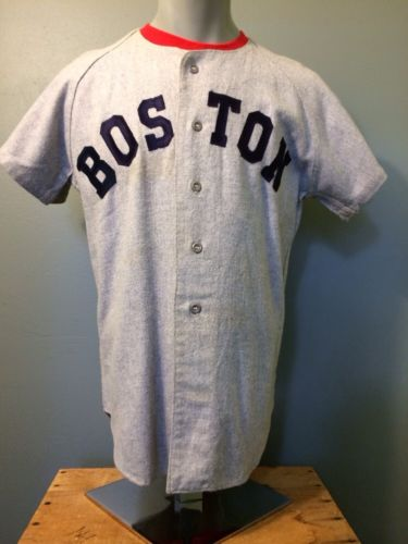 Vtg Boston Red Sox Flannel Jersey 50s 60s Road #15 Wilson Wool Baseball Uniform