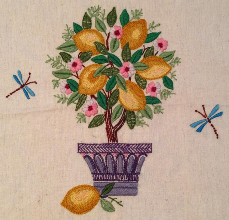 VINTAGE CREWEL EMBROIDERY LEMON TREE FLOWER DRAGONFLY FINISHED DESIGN PICTURE