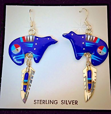 Zuni Sterling Silver & Lapis & Turquoise & Coral and Jet  Bear Earrings