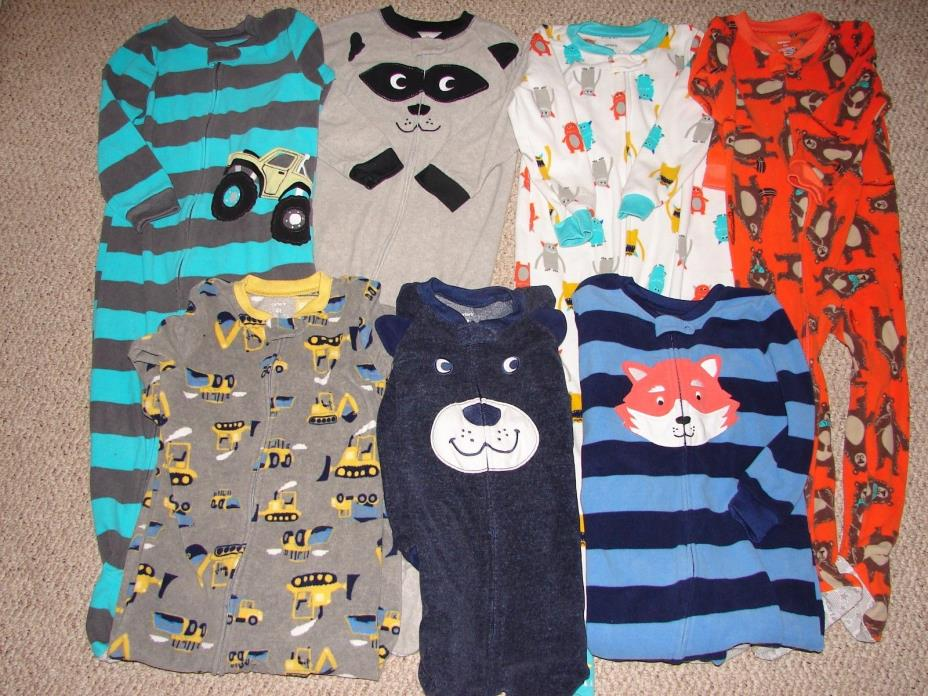 Carters Boys Pj's Sleepers 4 4T Pajamas Zip Lot of 7 - Fox Bear Trucks Footed