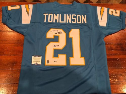 LaDainian Tomlinson Autographed SD Chargers Powder Blue Jersey HOF 17 Beckett