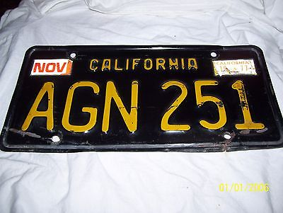 California Black And Yellow 1963 License Plate