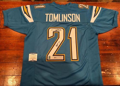 LaDainian Tomlinson Autographed SD Chargers Light Blue Jersey HOF 17 Beckett