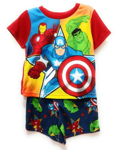 Avengers Pajamas Short Set Boys 4T Flame Resistant Summer PJ's Hulk Iron Man New