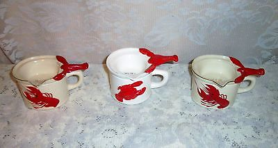 THREE Red and White 1950's Lobster Melted Butter Warming Pot Server