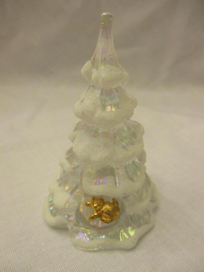 FENTON ART GLASS IRIDESCENT CHRISTMAS TREE w/ GOLD CAT & SNOW 3