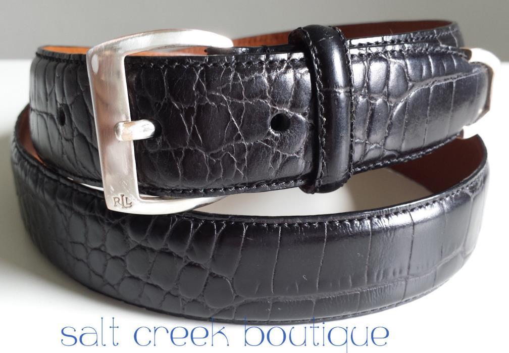 Ralph Lauren CROC Embossed Black Leather Belt Size M Womens