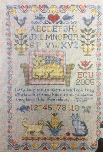 Lila's Studio Cat Sampler Cross Stitch Pattern Instructions Kittens Alphabet