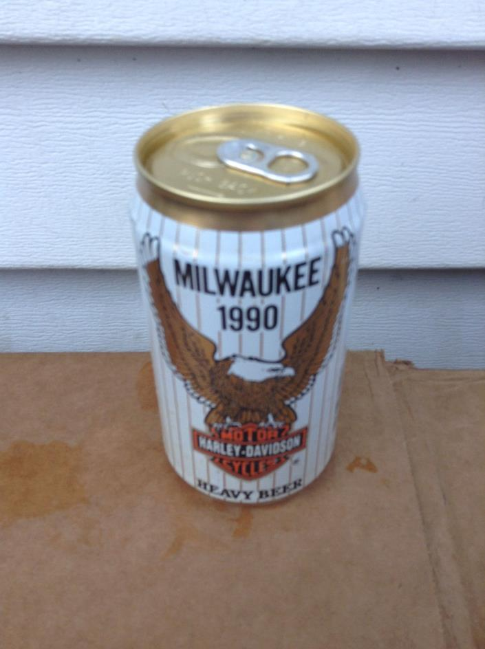 HARLEY DAVIDSON MOTOR CYCLES 1990 MILWAUKEE  ALUMINUM  BEER CAN CANS