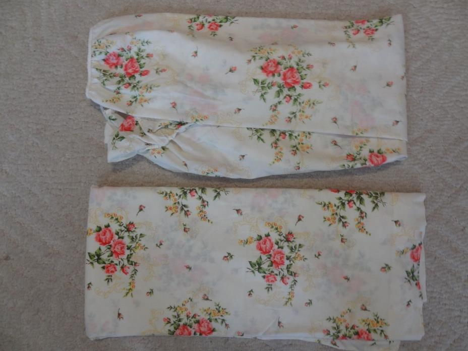 Vintage Rose Print Shabby Sheets Set Fitted Top Chic Queen Muslin No Iron