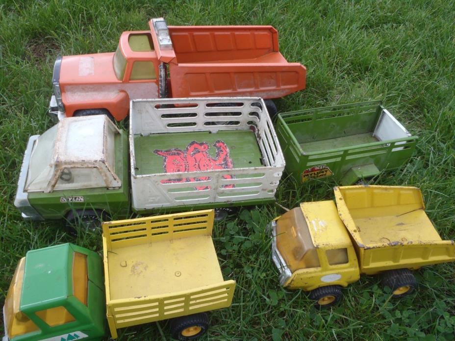 VINTAGE METAL TOY TRUCKS TONKA,NYLINT WITH TRAILER,TIN  FARM VEHICLES,METAL TOYS