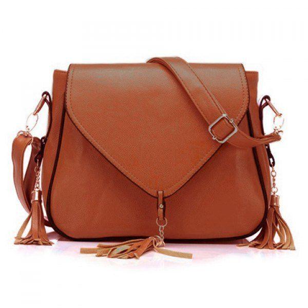 Fashionable Leather Look Purse with Tassels & Adjustable Shoulder Bag Strap