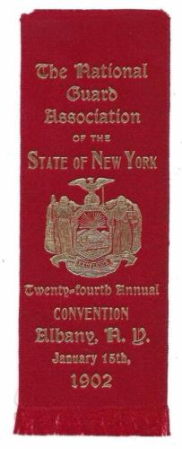 National Guard Assoc. 24th Annual Convention Ribbon - Albany, NY, Jan 15th, 1902