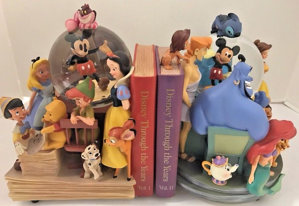 Disney Bookend Set Through Years Vol 1 I & 2 II Snowglobe Mickey Genie Belle Pan