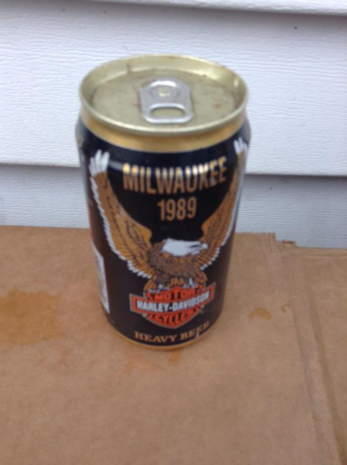 HARLEY DAVIDSON MOTOR CYCLES 1989 MILWAUKEE  ALUMINUM  BEER CAN CANS