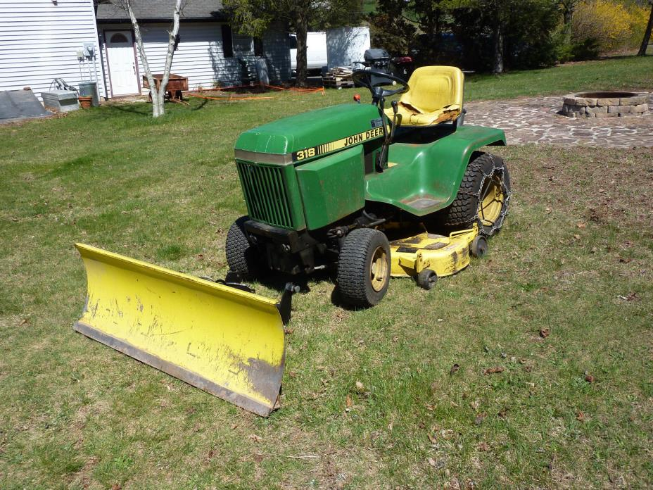 John Deere 318 Riding Lawn Garden Tractor Mower w 3 pt Hitch & Plow, Needs Motor