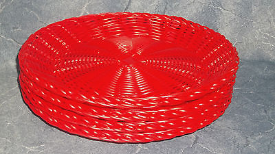 Vintage Plastic Washable Paper Plate Holders ~ RED ~ LOT OF 4 ~ HEAVY PLASTIC!!