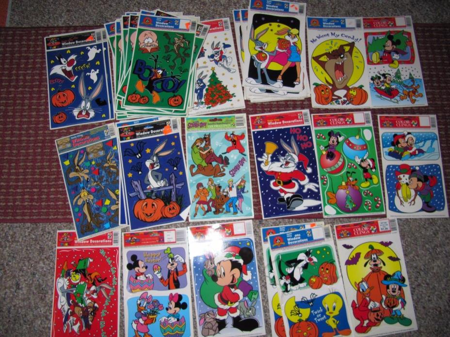 Huge Lot 50 + vintage Looney Tunes window decoration static color clings.
