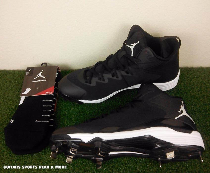 Nike Air Jordan Superfly 3 Mid Baseball Cleats 684941-010 Men's 10,11.5 + Socks