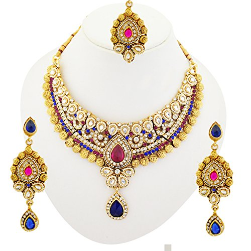 Bollywood Designer Indian Bridal Polki Kundan Necklace Set with Maang Tikka -