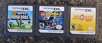 New Super Mario Bros + Lego Batman 2 & Jigapix Pets Nintendo DS 3 Game Lot