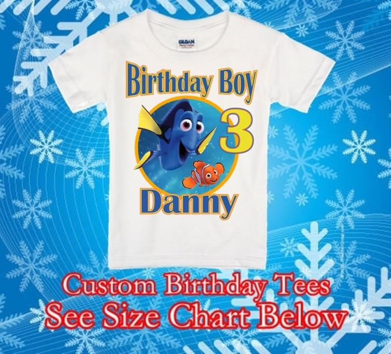 Finding Dory Nemo Birthday T shirt Custom Personalized Tee Party Favor Gift