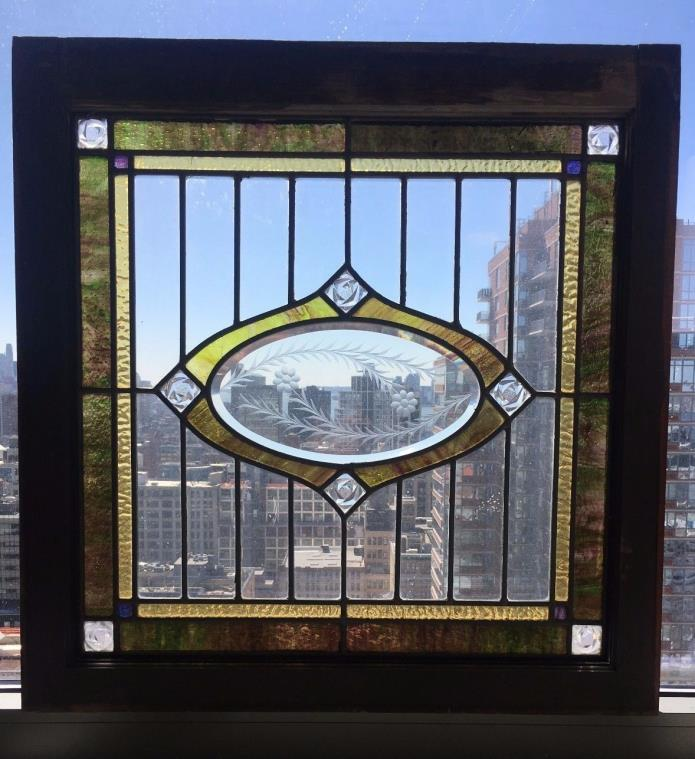 Antique American Stained Glass LR Beveled Architectural Window