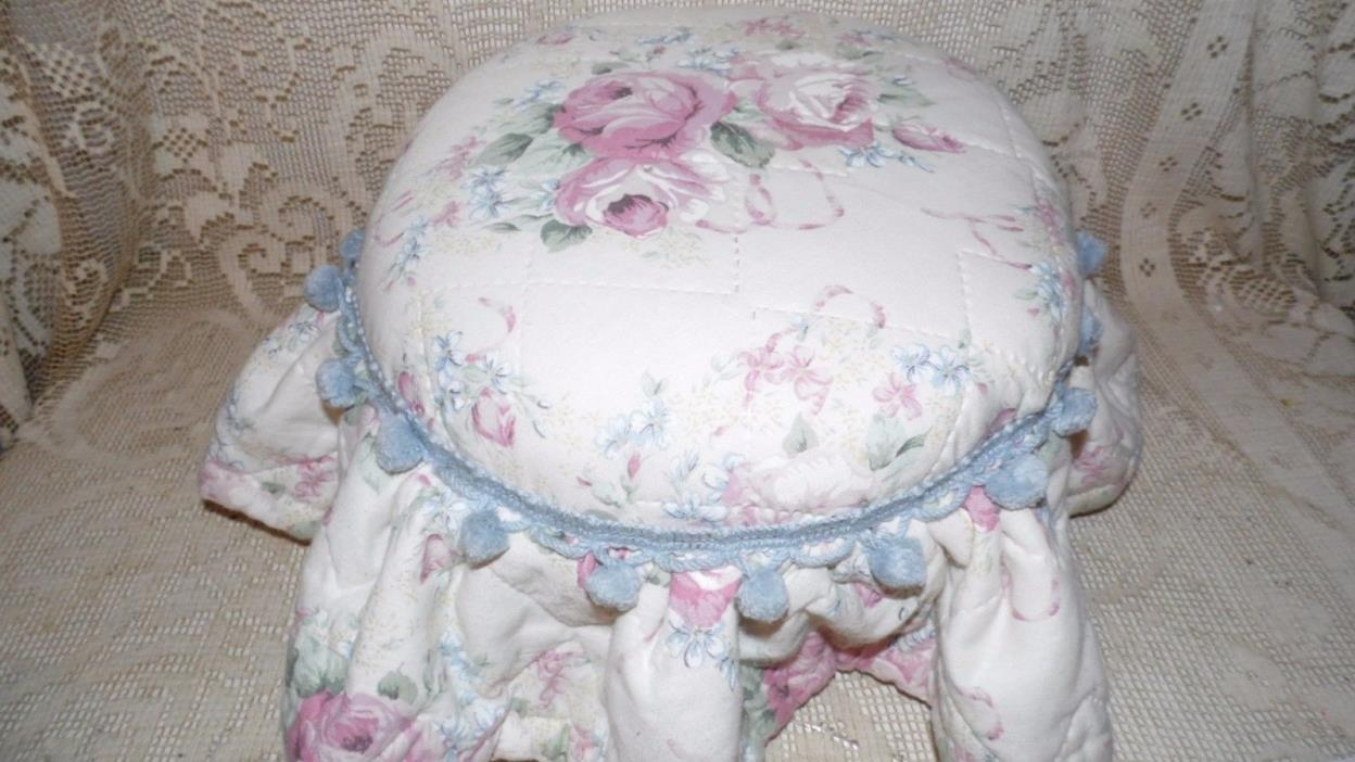 VINTAGE WOOD COTTAGE PINK ROSES QUILTED FOOT STOOL HANDCRAFTED WITH RUFFLES