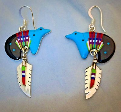 Zuni Sterling Silver & Turquoise & Coral and Jet  Bear Earrings
