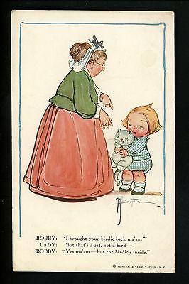 Artist Signed Vintage postcard Weiderseim / Drayton child kitten cat #309