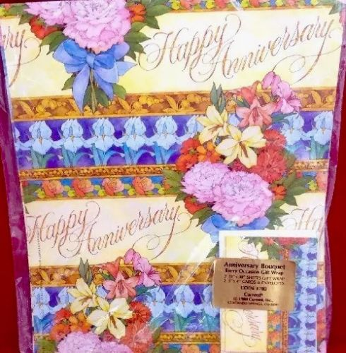 VINTAGE CURRENT 1980 ANNIVERSARY BOUQUET GIFT WRAP WRAPPING PAPER W/CARDS NEW PK