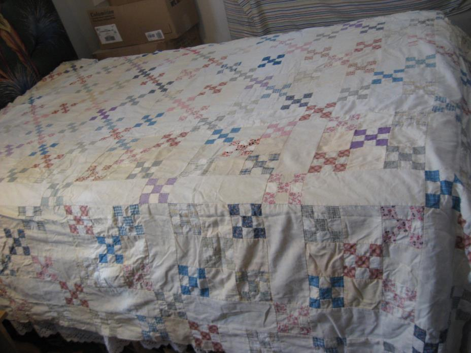 Vintage Homemade 9 Patch Quilt Top 78