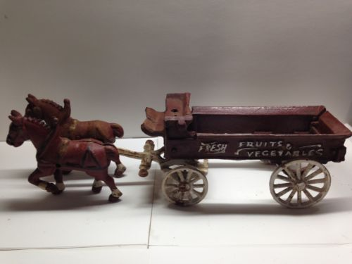 VINTAGE CAST IRON HORSE DRAWN WAGON FRUITS AND VGETABLES