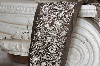 c1840 printed border fabric Brown trim French fabric material textile trim brown