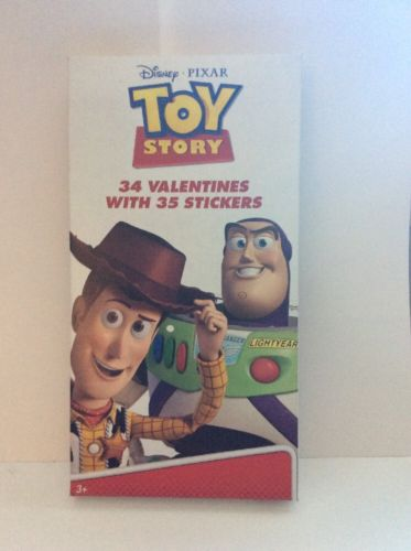 Disney Pixar Toy Story 34 Valentines Cards With 35 Stickers.