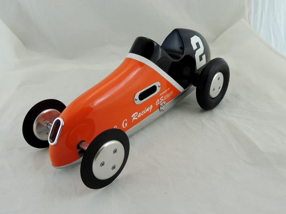 VINTAGE CUSTOM PAINTED PUSHER TETHER CAR K&G RACING
