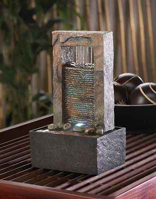Cascading Zen Water Tabletop Fountain Glowing Light Calming Relaxing Home Office