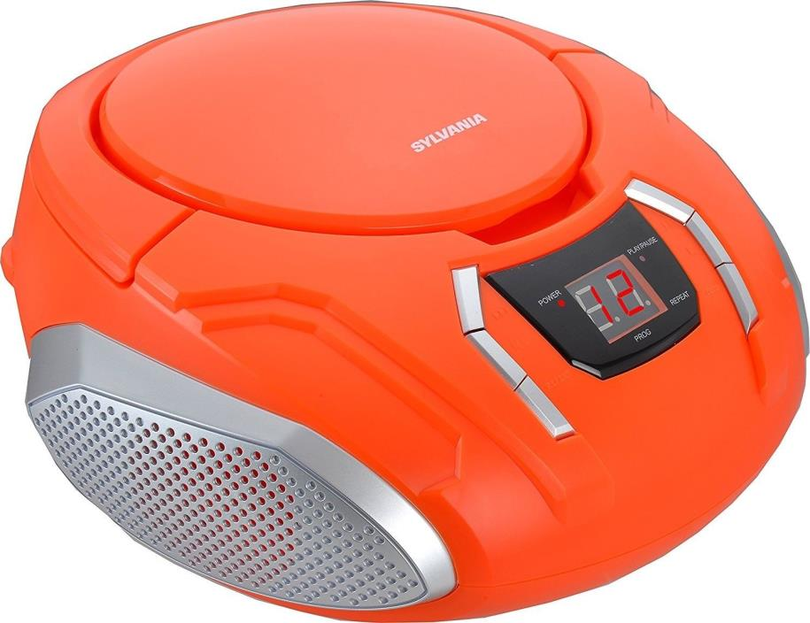 Sylvania Portable CD Boombox with AM/FM Radio (Orange) New