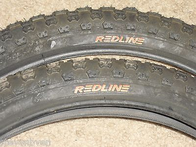 old mid school NOS redline logo comp 3 black 20 inch tires bmx bike pair set