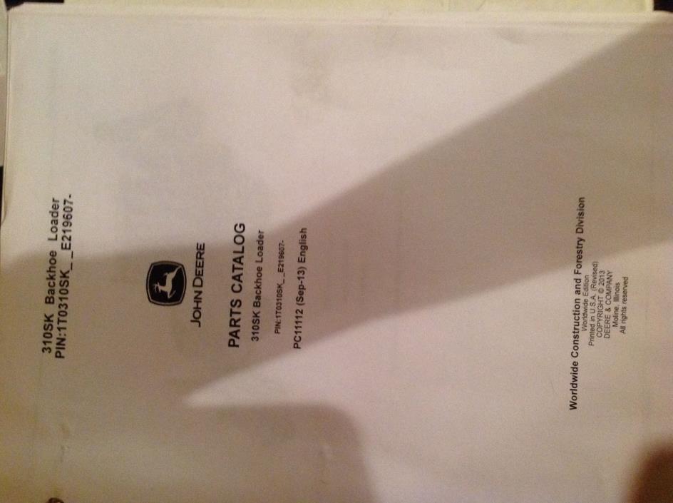 John Deere parts catalog for 310SK Backhoe Loader