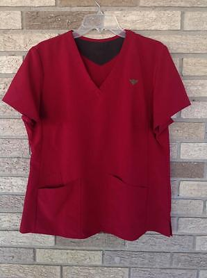 Women's MED COUTURE GOLD Scrub Top Red Sz XL