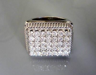 14 KT SOLID WHITE GOLD MEN'S DIAMOND RING ,TWD 4.55 CT