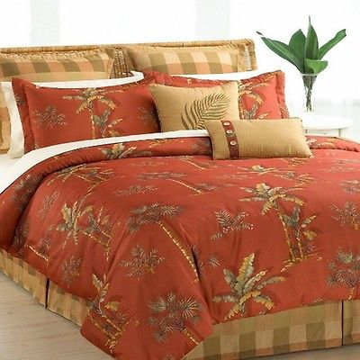 Hallmart Collectibles Spiced Palm Comforter Set Bedding Queen