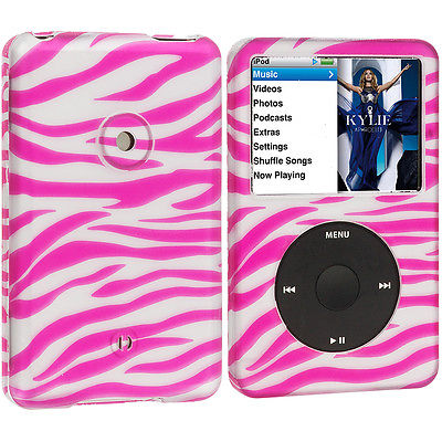 For iPod Classic 80GB 120GB 160GB Hard Rubberized Case Pink Silver Zebra
